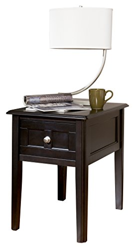 Ashley Furniture Signature Design - Henning Chair Side End Table - 1 Drawer - Contemporary - Almost Black Finish (1 Drawer Side Table)