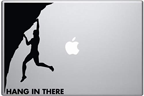 CECILIAPATER Hang in There Inspirational Rock Climber Decal for Macbooks, iPads, Laptops and Vehicles