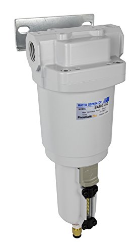 "PneumaticPlus SAMG350-N04BD-MEP Air Drying Unit 1/2"" NPT Water Separator, Metal Bowl Pipetype Sight Glass with N.C. internal Auto Drain, 52 SCFM, Bracket"