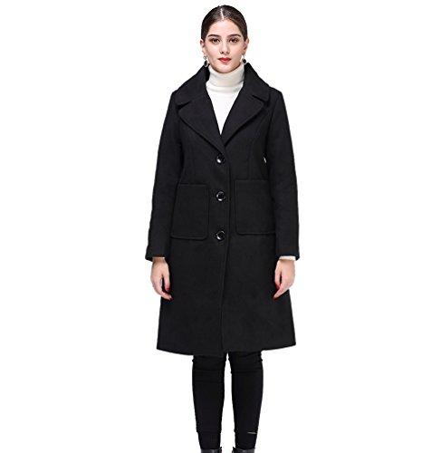 Moda Chaquetas de Abrigo la para Señoras Señoras de las las Largo Señoras Mujeres Invierno Negro Abrigo del WanYang Cf8qv5x8