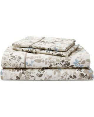 (Lauren by Ralph Lauren Devon Cotton Percale Count 4-Pc. California King Sheet Set - Cream Multi)
