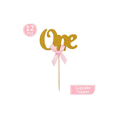 1st Happy Birthday Pink Balloons Set,Foil Number Balloon Banner First Baby Girl Party Decorations My 1 One Year,Gold Pink Topper one]()
