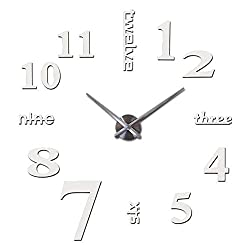 Wall Clock Quartz Watches Fashion Watches 3D Real Big Wall Clock Brushed Mirror Sticker DIY Living Room Decoration 47 inches (Color : White)