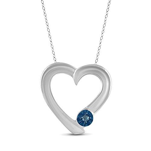 True Love Blue Diamond Accent Sterling Silver Heart Pendant