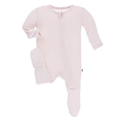 Kickee Pants Little Girls Solid Footie with Zipper - Macaroon, 3-6 Months