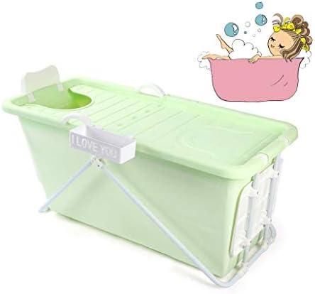 折りたたみバスタブ GYF 折りたたみ式浴槽、ポータブル大型プラスチック製浴槽、家庭用大人風呂樽子供用プール全身シャワーポット子供用プールプール (Color : Green)