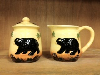 Dishes Black Bear - Tuscan Bear Collection Hand Painted Creamer and Sugar Set, 86432 By ACK