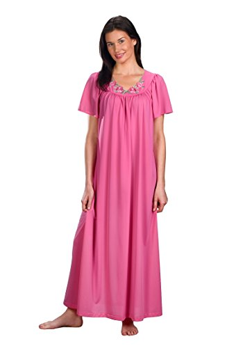 Shadowline Women's Plus Size Petals 53 Inch Short Flutter Sleeve Long Gown, Rosy Pink, 2X