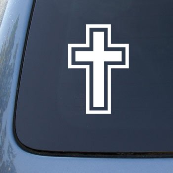CROSS CHRITIAN JESUS GOD - Car, Truck, Notebook, Vinyl Decal Sticker #1980 | Vinyl Color: White (Chritian Religious Cross)