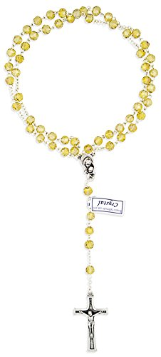 Vatican Imports Crystal Rosary Beads for First Communion by (Topaz)