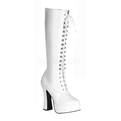 PLEASER High Heel Block Heel Knee High High Knee Boot laceup ... 62dfaa