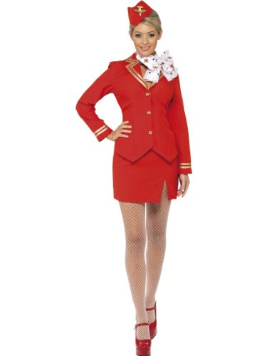 Red Air Hostess Costume (Smiffy's Women's Wo Trolley Dolly Air Hostess Size 20-22, -> Size 20-22 Red)