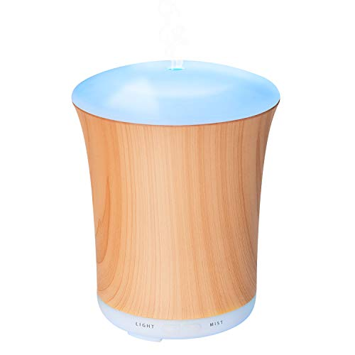 ZOOKKI Upgraded Aromatherapy Essential Oil Diffuser, 200ml Wood Grain Ultrasonic Aroma Diffusers Mini Cool Mist Humidifier with 8 Colors LED Lights & Waterless Auto Shut-Off for Home