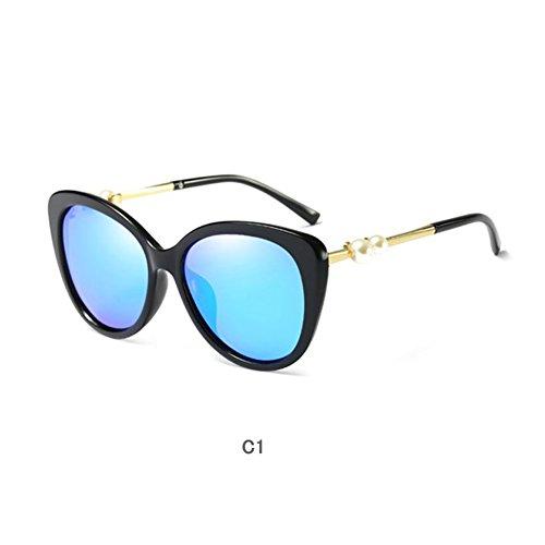 Cat Eye Sunglasses Women Mirror Polarized Brand Designer Pearl Gold Frame (Black/Blue) (Ray Ben Brille)