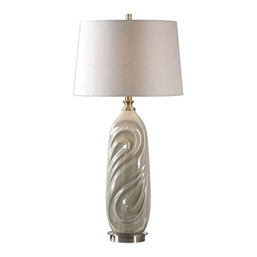 Uttermost 27717-1 Griseo - One Light Table Lamp, Sage Gray Glaze/Antique Brass Finish with Light Beige Linen Fabric Shade ()