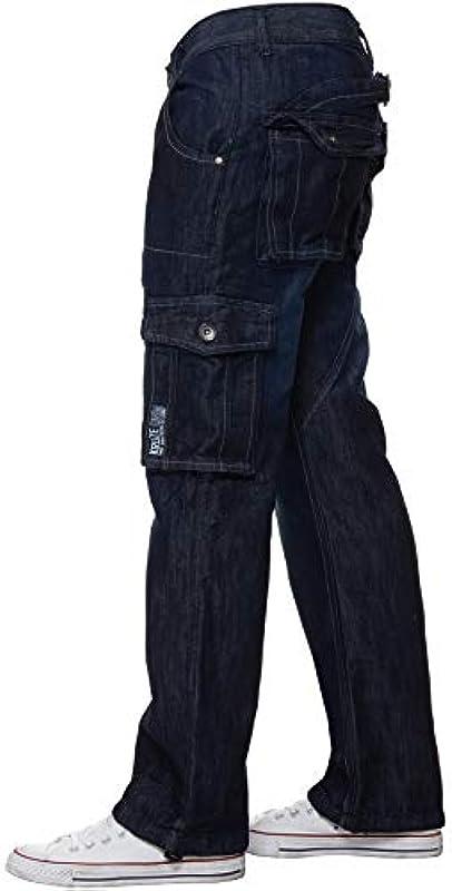Brand Kruze Męskie spodnie cargo Relaxed Denim Pants wszystkie biodra duże rozmiary: Odzież