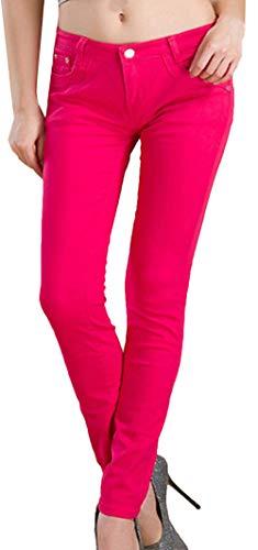 Snone Femmes Pantalons Long Femme Tendance Automne Mince Pantalon lasticit Jeans Style Coren Pantalons Dcontracts Slim Leggings Jean Maigre Pantalon Crayon Pantalon Rouge Rose