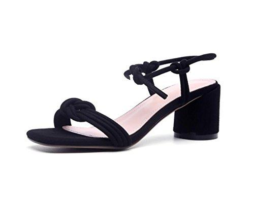 DANDANJIE Zapatos de Mujer Primavera Verano Básico Bomba Confort Sandalias Chunky Heel Open Toe Hebilla para Vestido Casual Zapatos caseros Negro