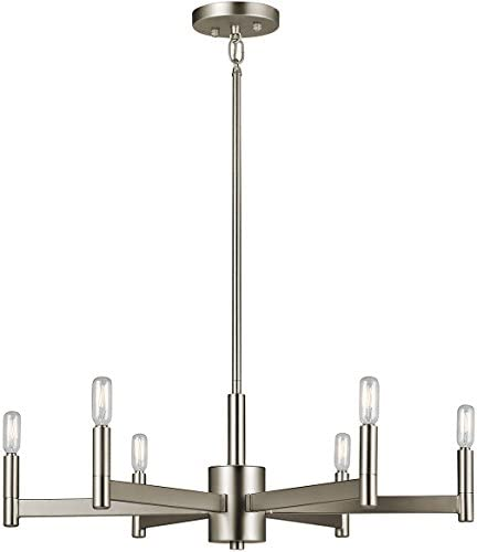 Kichler 43859SN Erzo Chandelier, 6 Light Incandescent 360 Total Watts, Satin Nickel