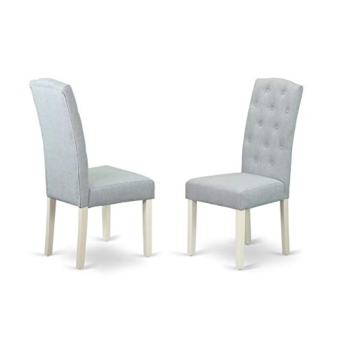East West Furniture CEP2B15 Celina Parson Chair White Finish Leg and Linen Fabric-Baby Blue Color ()