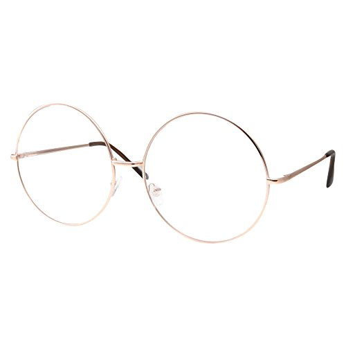 XXL Super Oversized Fashion Glasses Round Circle Frame Clear Lens - Big Gold Frame