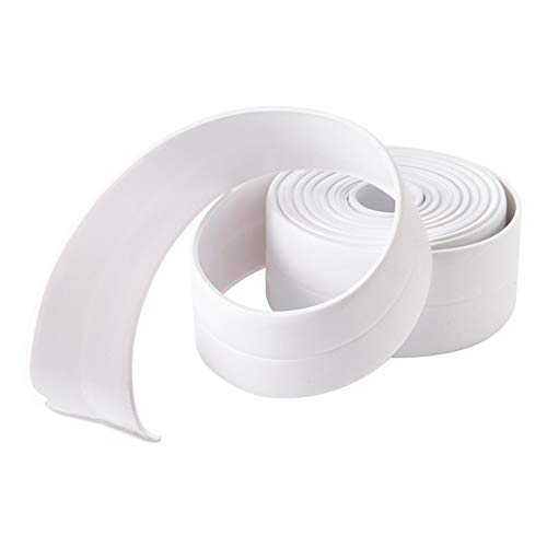 Bathtub Wall Sealing Caulk Strip PE Self Adhesive Waterproof Sealing Tape Strip Caulk Sealer Decorative Trim for Kitchen Bathroom Shower Toilet Wall Corner 38mmx3.2m/1.5x126inch - Trim Sealer