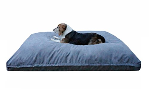 Dogbed4less Large Memory Foam Dog Bed Pillow with Orthopedic Comfort, Waterproof Liner and Grey Microsuede Pet Bed Cover 41X27 Inches by Dogbed4less
