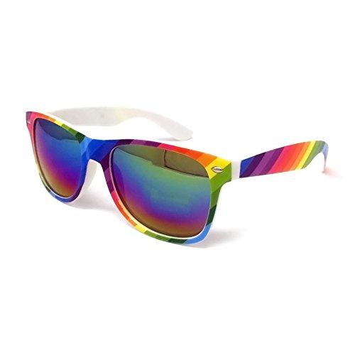 Black Lens Classic Sunglasses – Style Unisex Shades UV400 Protective Mens Ladies (Rainbow Frame, Rainbow Mirrored Lens)