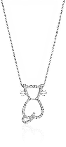 Roberto Coin 18k White Dia Pave Kitten Outline Necklace (Necklace Roberto Coin / Diamond 18k)