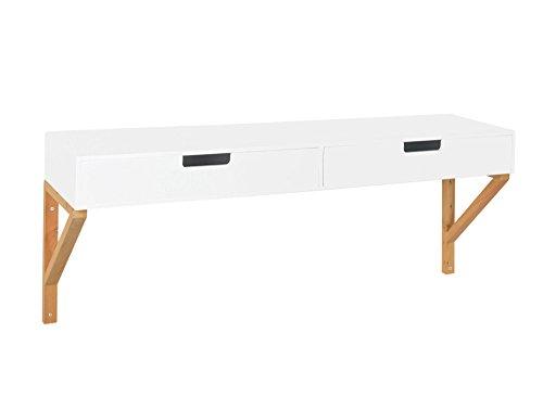 ts-ideen Perchero de madera estante estantería para pared con 2 cajones 100 x 2 cm, marrón y blanco