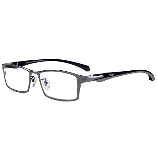 - Caponi Men Titanium Eyeglasses Frame For Men Eyewear Clear Lens Flexible TR90 Temples Full Rim 9064 (Gun)