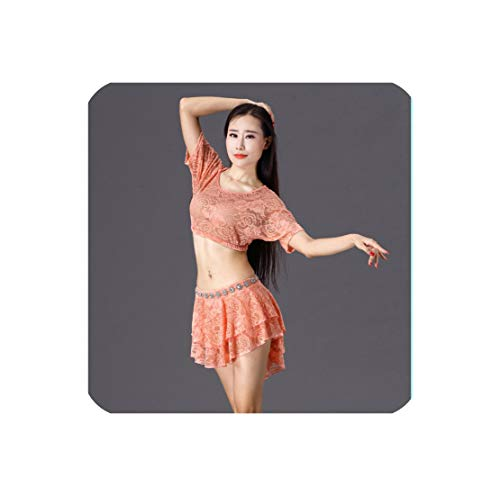 Belly Dance Costumes Real Women Cotton Professional Suit Tops+Skirt 2Pcs Set Costume,Pink,L]()
