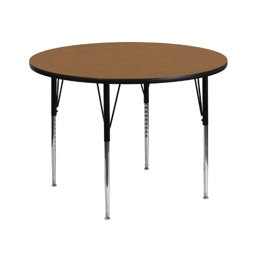 Flash Furniture 42'' Round Oak Thermal Laminate Activity Table - Standard Height Adjustable Legs by Flash Furniture