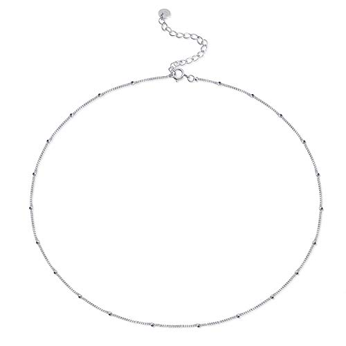 S.Leaf Dainty Choker Necklace Satellite Chain Beaded Choker Necklace Layered Necklace (Silver)
