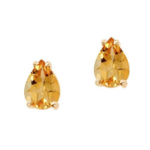 (FB Jewels Solid 14k Yellow Gold Studs Genuine Birthstone Pear Shaped Citrine Earrings (1.2 Cttw.))