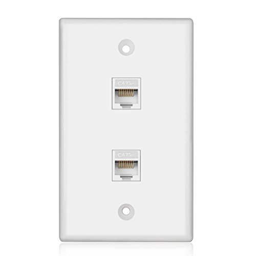 Wondrous Tnp Ethernet Network Cat5E Wall Plate Dual 2 Port Rj45 Wiring Cloud Hisonuggs Outletorg