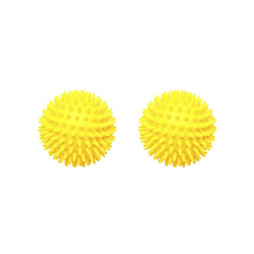 Body Back Company's Porcupine Spiky Massage Therapy Ball with Reflexology Card 2-pack - for Plantar Fasciitis Treatment, Trigger Point Therapy on Feet, Hands & Body - Yellow