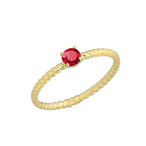 (Dainty 10k Yellow Gold Stackable Ruby Solitaire Rope Engagement/Promise Ring (Size 6))