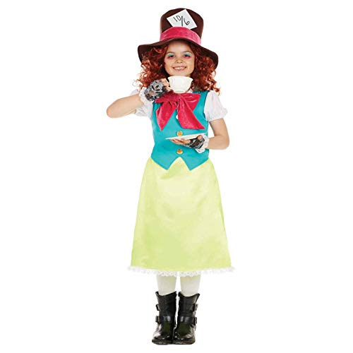 fun shack Girls Miss Hatter Costume Wonderland Tea Party Dress Up - X-Large]()