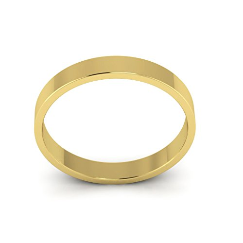 14K Yellow Gold men's and women's plain wedding bands 3mm light flat, 5 by i Wedding Band (Image #2)