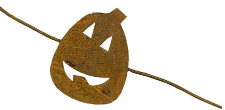 Set of 3 Rusted Metal Jack O'Lantern Pumpkin Garlands (Total of 18 (Primitive Fall Halloween Decorations)