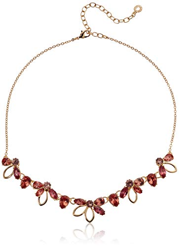 Anne Klein Women's Gold/Coral Flower Frontal Necklace