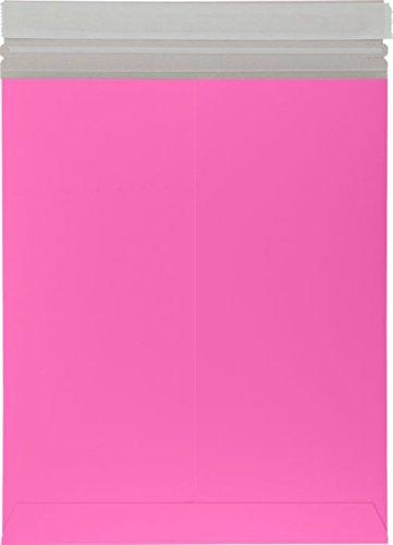 6 x 9色付き板紙リジッドフラットMailers w/Peel &シール – 50枚。 ピンク B01BU3PXX4  Bright Fuchsia