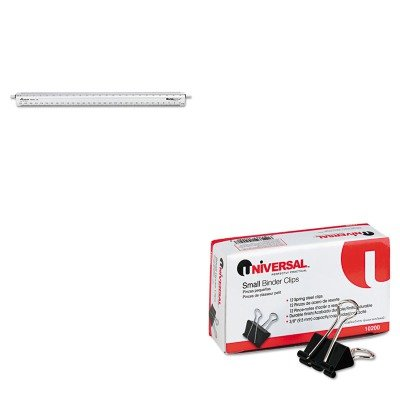 KITCHA240UNV10200 - Value Kit - Chartpak Adjustable Triangular Scale Aluminum Engineers Ruler (CHA240) and Universal Small Binder Clips (UNV10200) by Chartpak (Image #1)