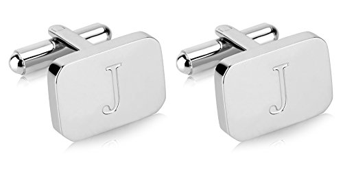 White-Gold Plated Monogram Initial Engraved Stainless Steel Man's Cufflinks With Gift Box -Personalized Alphabet Letter's By Lux & Pier (J- White (Engraved Personalized Cufflinks)