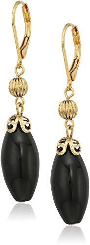 1928 Jewelry 14k Gold Dipped Genuine Semi Precious Gemstone Black Onyx Oval Drop - Onyx Dangling Gold