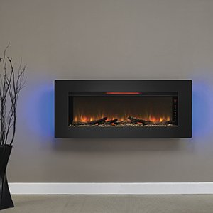 "ClassicFlame 47II100GRG Felicity 47"" Wall Mounted Infrared Quartz Fireplace, Black Glass Frame"