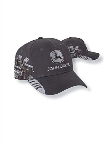 John Deere Charcoal Gray Embroidered Combine Scene Cap (John Deere 440 Log Skidder For Sale)