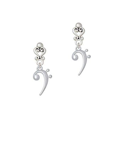 Bass Clef - Filigree Heart Earrings