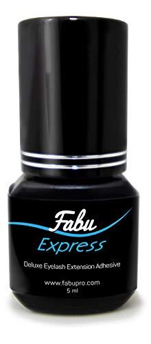 EXTRA FAST DRYING, 1-2 sec, Eyelash Extension Glue Fabu 5 ml, Retention - 6 weeks, Maximum Bonding Power, Professional Use Only Black Adhesive for Semi-Permanent Extensions Supplies (EXPRESS)